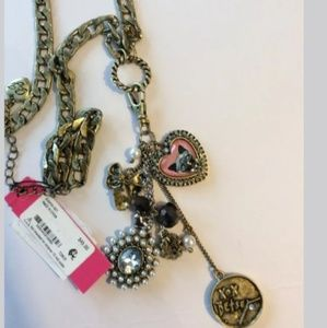 NWT Betsey Johnson Cameo Critters Snap Cat Necklac